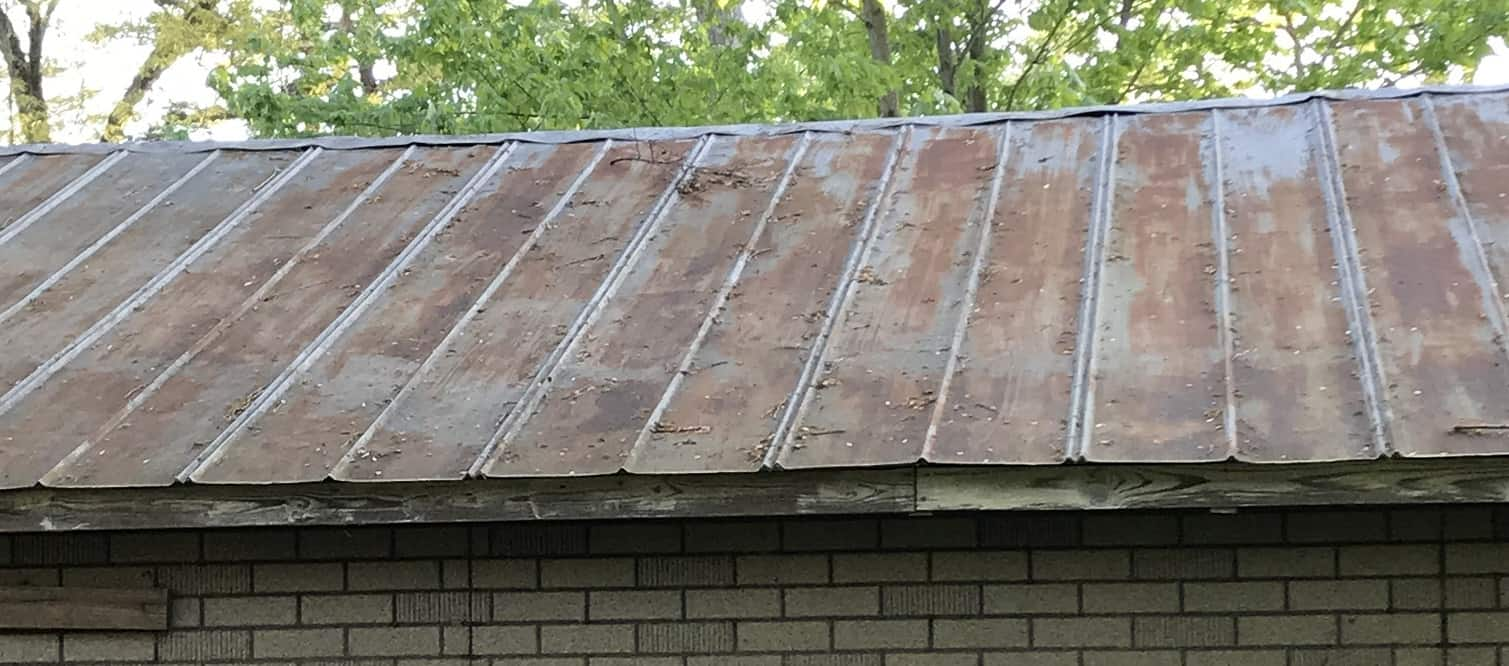 aged tin roof and fascia