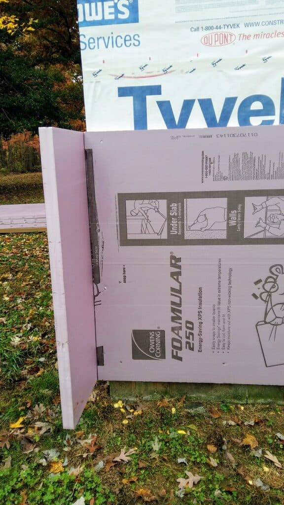 2 inch exterior foam insulation with tyvek wrap