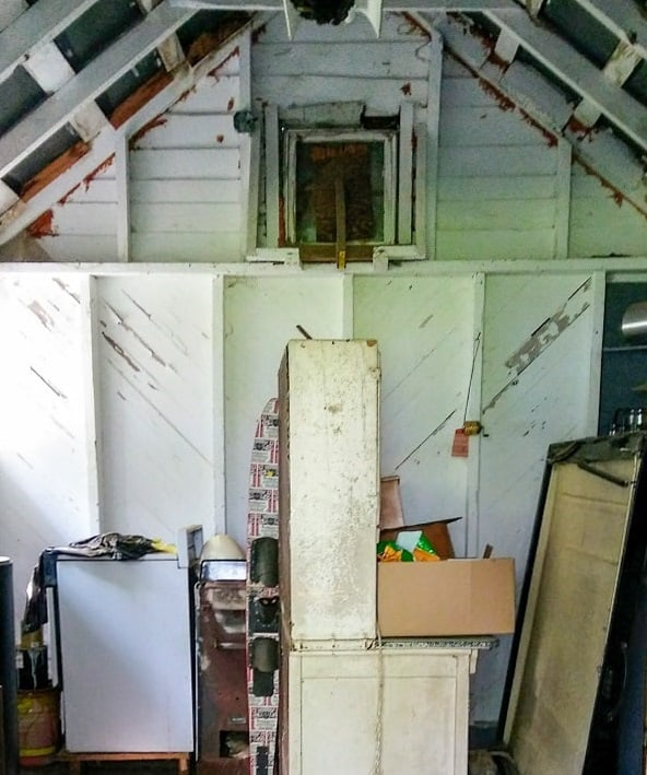 close up of she-shed interior before makeover