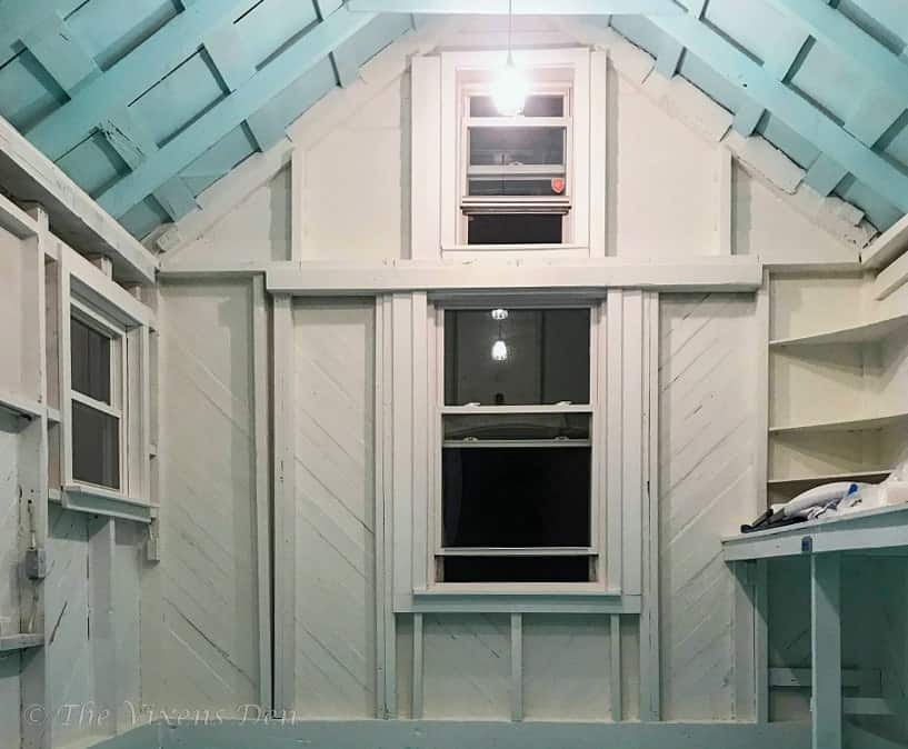 she-shed interior after painting walls SW Alabaster and ceiling SW Swimming