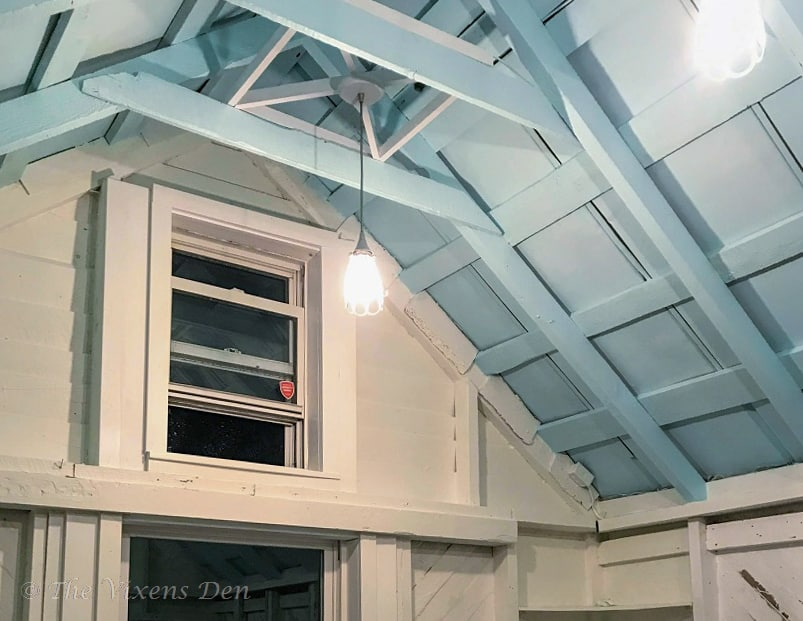 she-shed ceiling painted SW Swimming and DIY farmhouse lighting