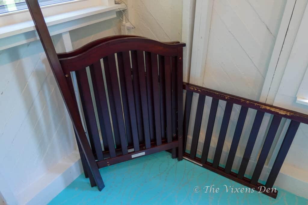 used brown crib