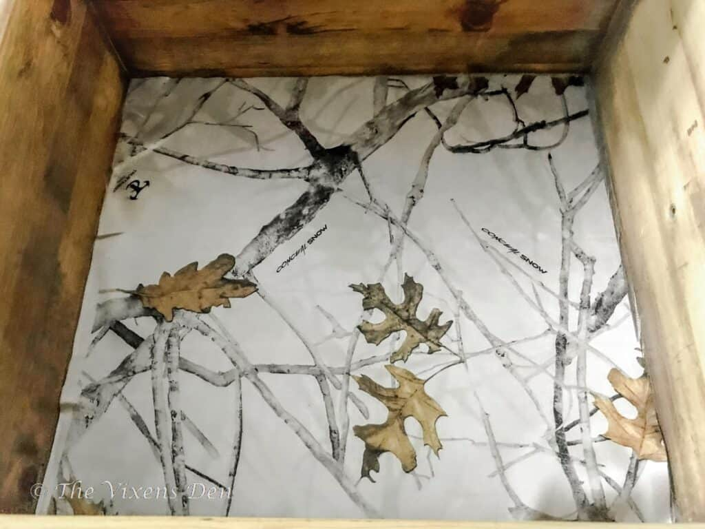 white camo fabric lined drawer