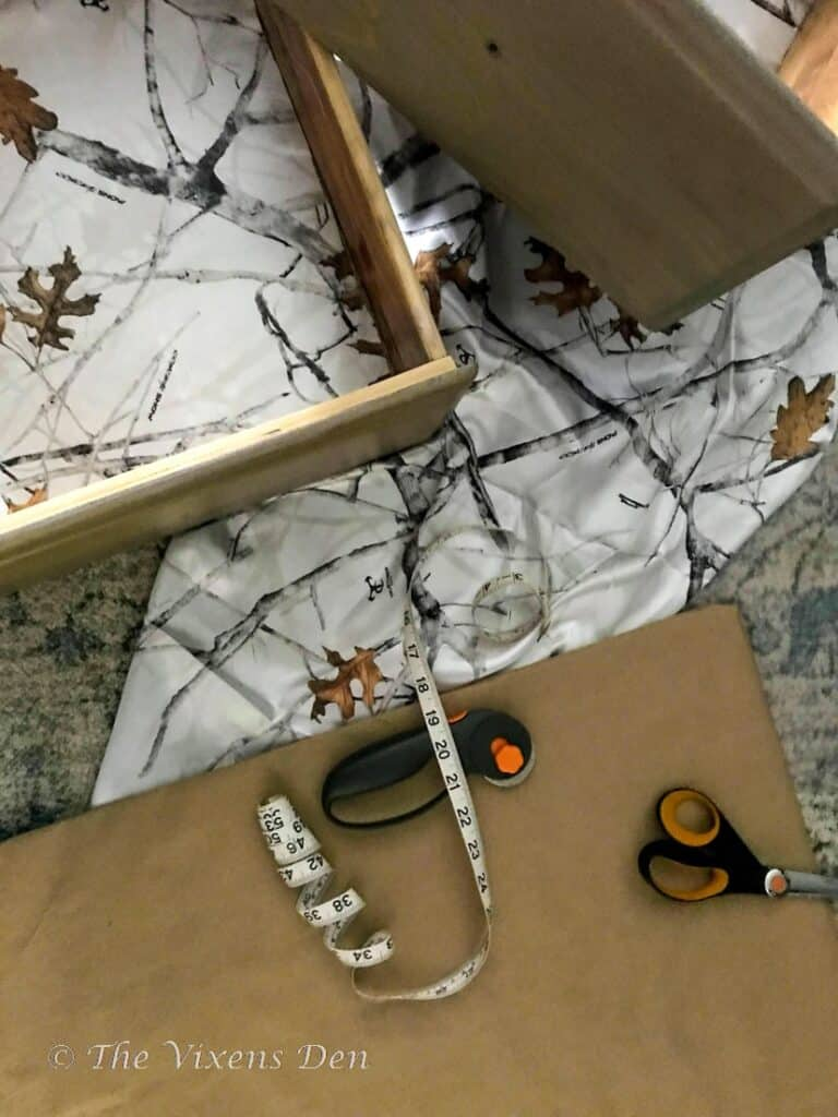 tools and material for DIY drawer liners