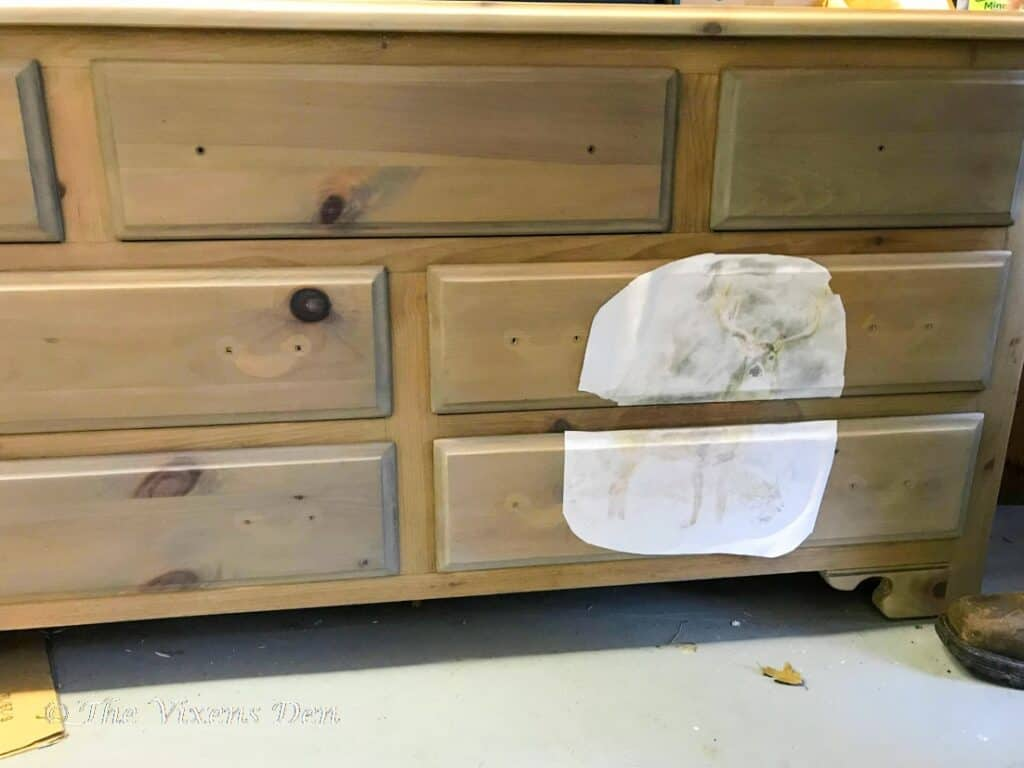 raw wood stained dresser with transfer applied