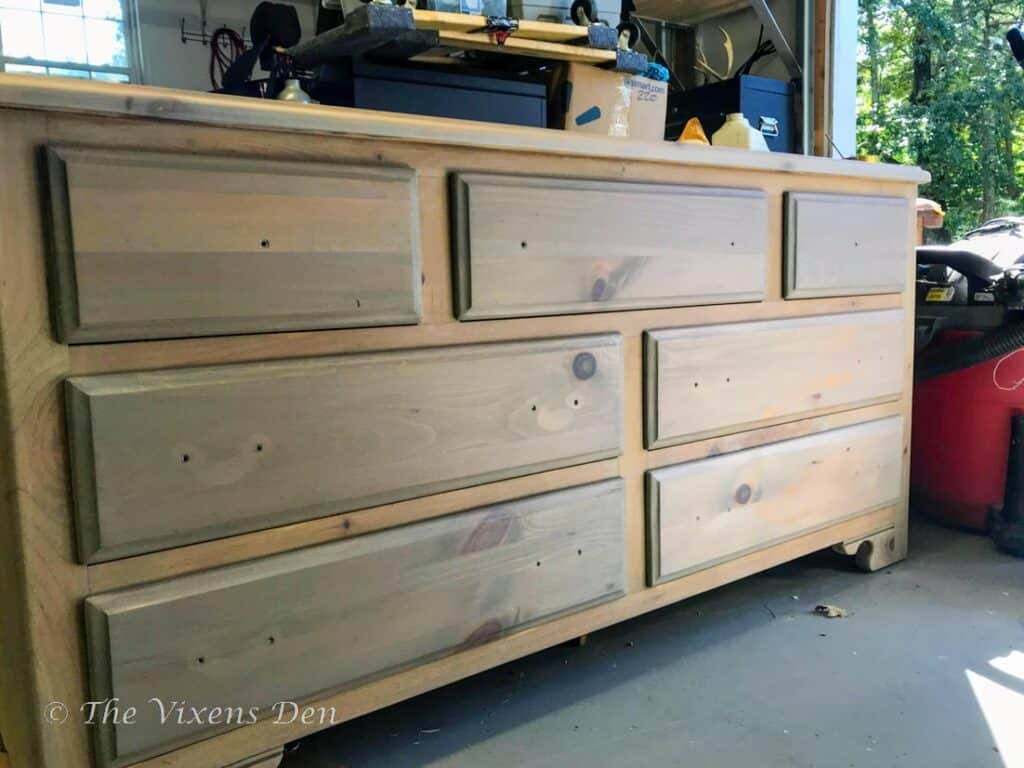 raw wood stained dresser