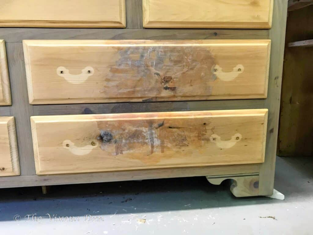 raw wood stained dresser with transfer paper removed