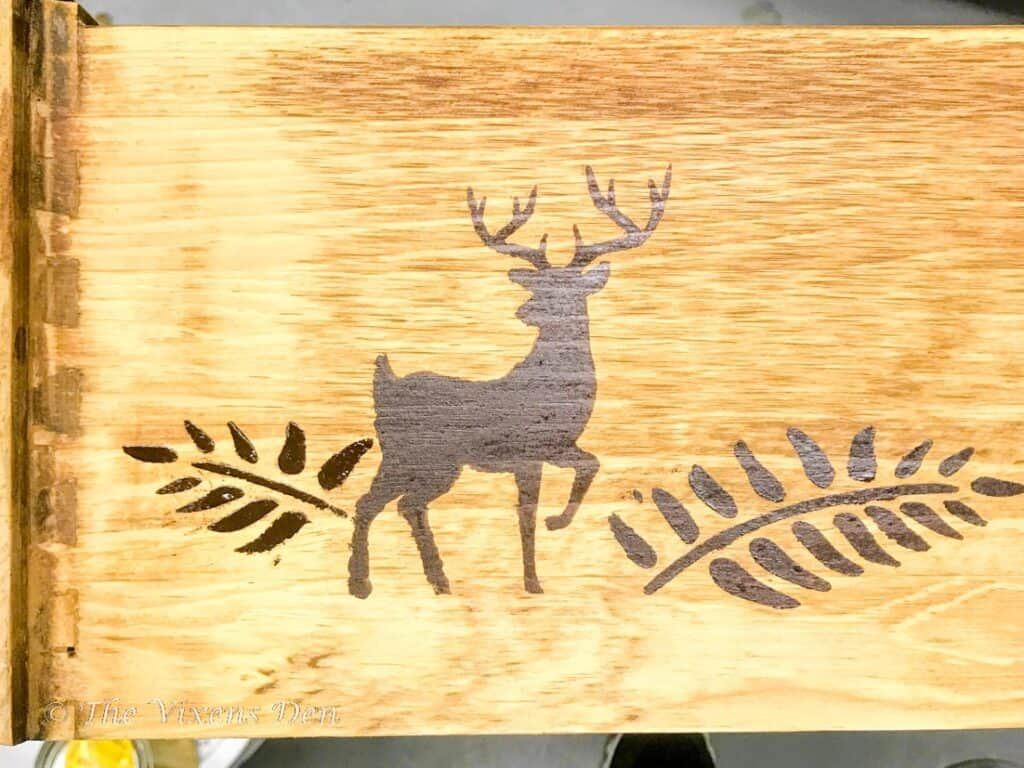 stained stencil drawer side