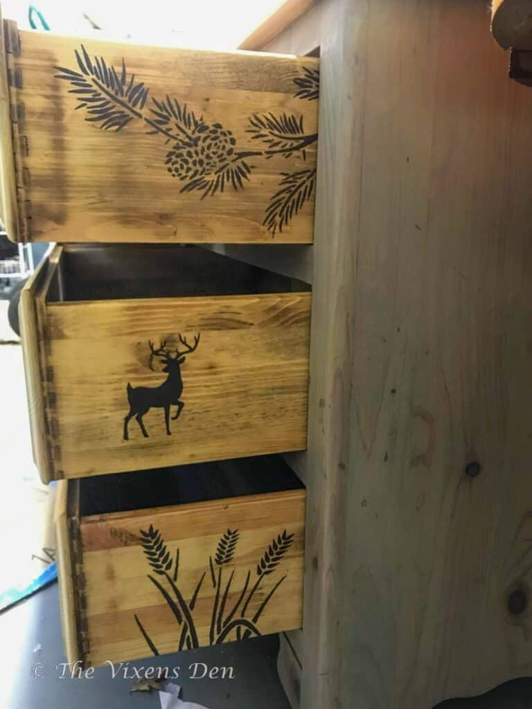stenciled dresser drawer sides
