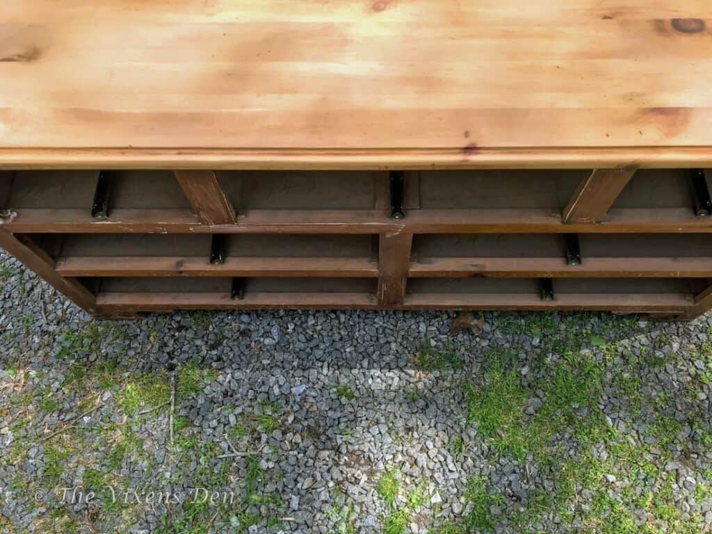 overview of pine dresser top and front with stain removed
