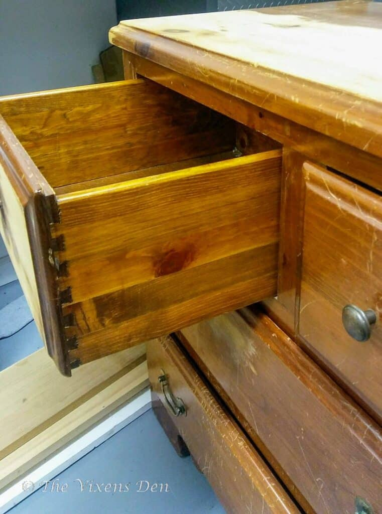 orange finish solid pine dresser with dovetail drawers