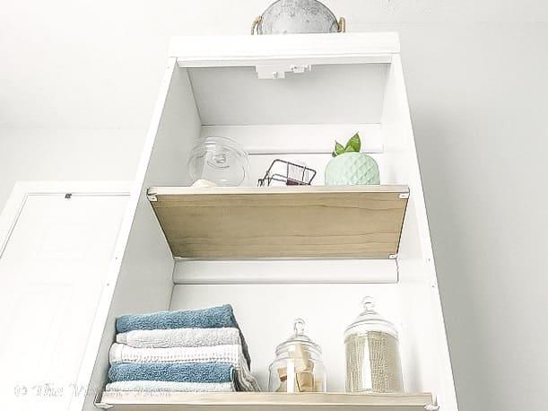 linen cabinet view from below