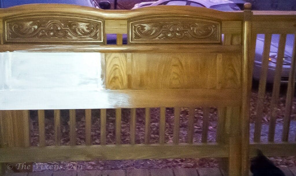 vintage headboard partially painted