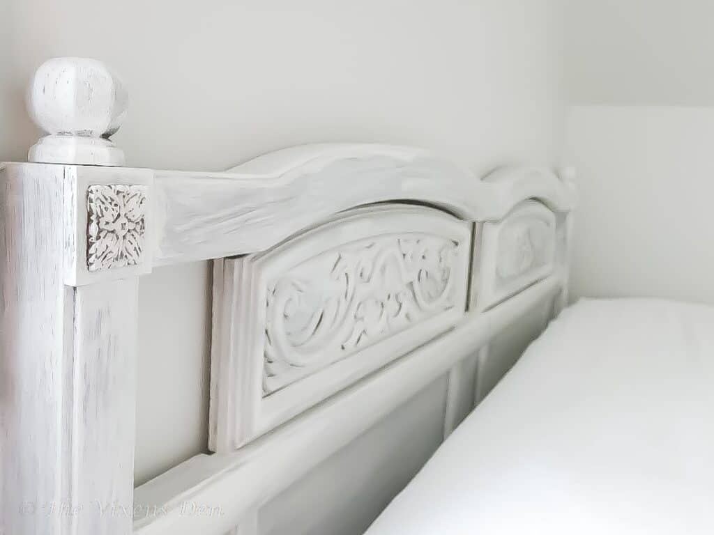angled view of 80's headboard makeover project with focus on details