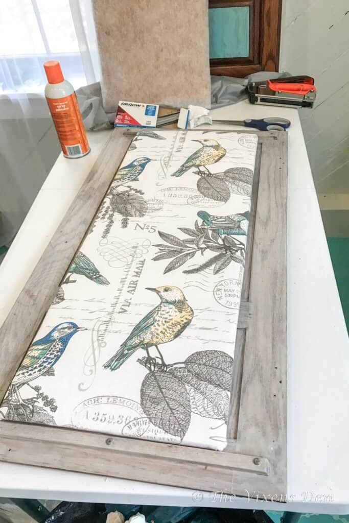bird fabric covered corkboard and materials