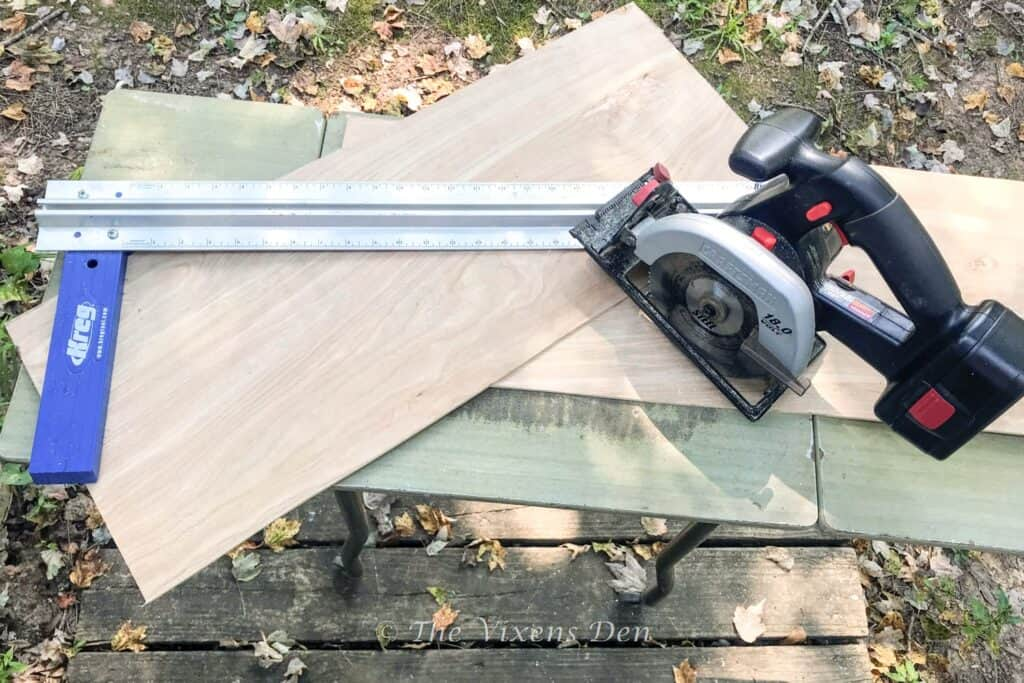 luan board cut in half with battery skil saw and kreg straight edge