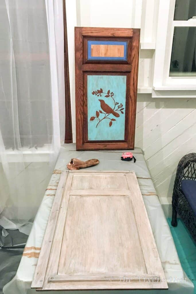 painted and stained cabinet doors