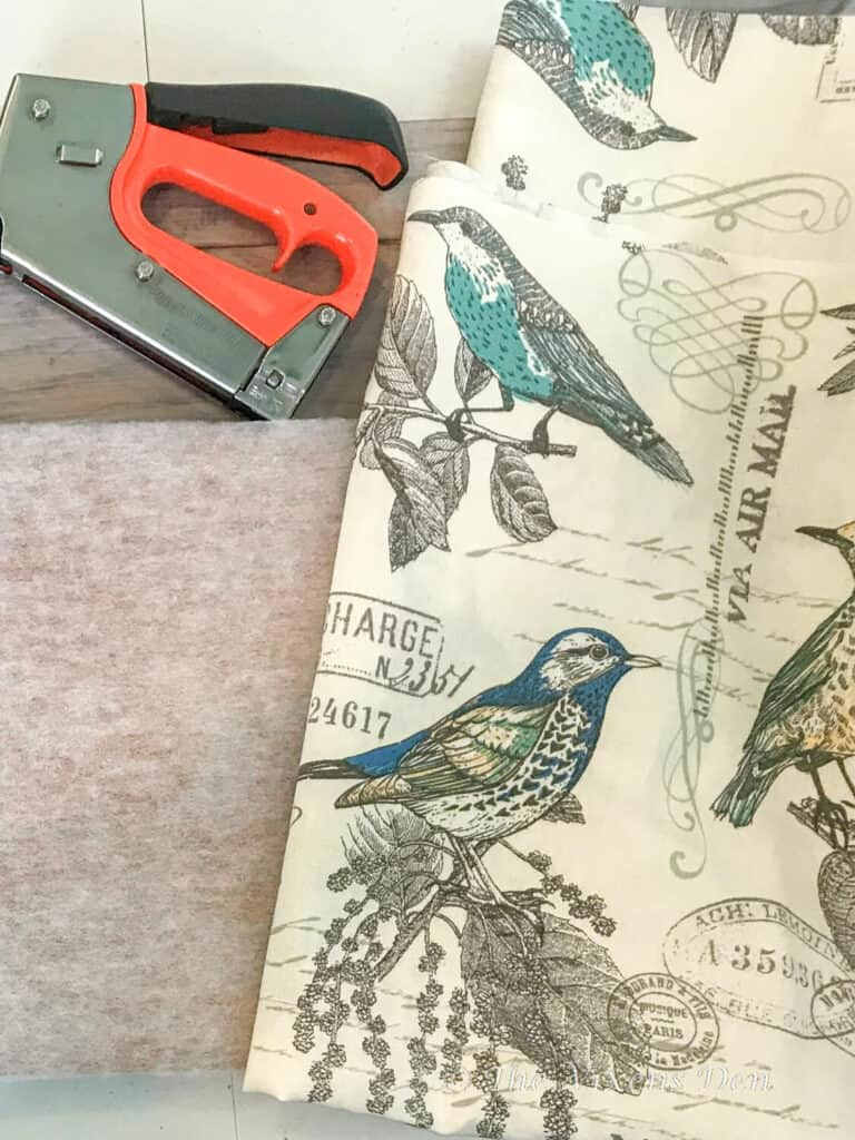 Natural & Turquoise Lansing Breeze Duck Cloth Fabric with birds